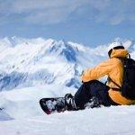 Сноубордист в горах