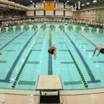 Спортсмены прыгают в воду с трамплина