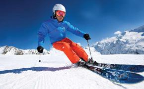 Спуск горнолыжника